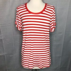 Marled Red White Striped Tee Size Small